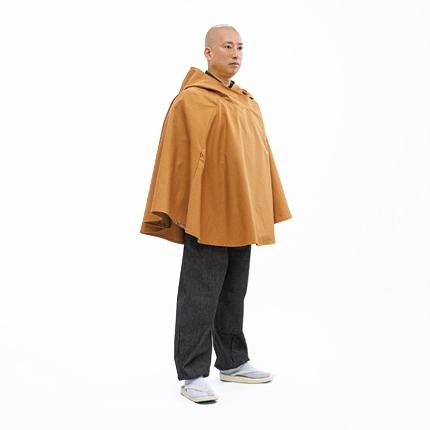 カジュアル イエロー系 コート アウター カラシ色 フード付き 黄色系 からし色 和風ポンチョ ボンチョ 芥子色