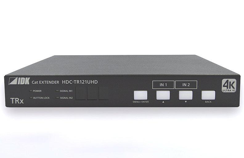 4K@60、HDCP 2.2対応 2入力2分配出力 ツイストペアケーブル延長器 IDK HDMI/DVIツイストペアケーブル延長器 HDC-TR121UHD
