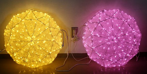 ★クリスマスイルミネーション★使い方次第でもっとオシャレに飾れます。 LEDクリスタルグローダイヤモンド(ウォームホワイト、ピンク)