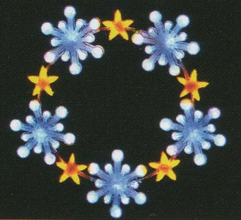 ★クリスマスイルミネーション★LEDクリスタルグロースノーフレークリング ホワイトSサイズ