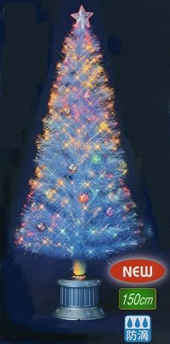 ★クリスマスイルミネーション★150cmクラッシュチップボールホワイトファイバーツリー
