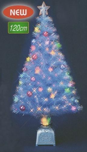 ★クリスマスイルミネーション★7色に変化するレインボーカラーでキラキラ! 120cmニューレインボーカラーLEDギャザーチップボールホワイトファイバーツリー