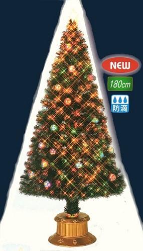 ★クリスマスイルミネーション★180cmボールスターギャザーチップグリーンハイパワーLEDファイバーツリー