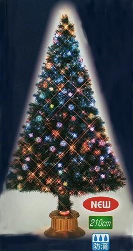 ★クリスマスイルミネーション★210cm7色に変化するレインボーカラーLEDクラッシュチップファイバーツリー