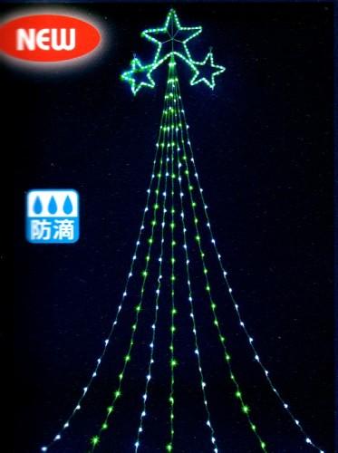 ★クリスマスイルミネーション★3つの星が輝きます! ニュードレープライト スリースターグリーン&ホワイトLEDドレープライト5m