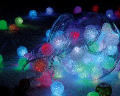 ★クリスマスイルミネーション★LEDキャップ付きRGBライト クリスタルボール80球 RGBがとっても幻想的!