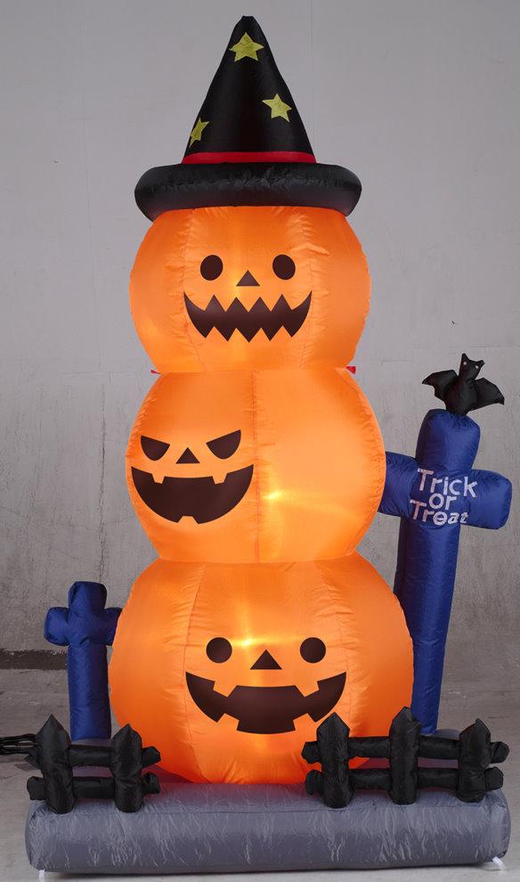 ★ハロウィンイルミネーション★エアーディスプレイ オレンジグレイブパンプキン 全長190cm