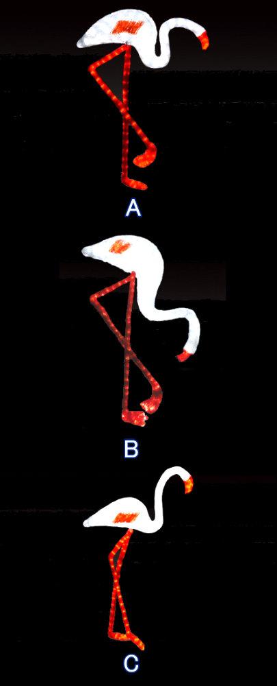 ★クリスマスイルミネーション★LEDクリスタルグロー アニマルモチーフ フラミンゴ ホワイト(3種類のポーズから選んでね)
