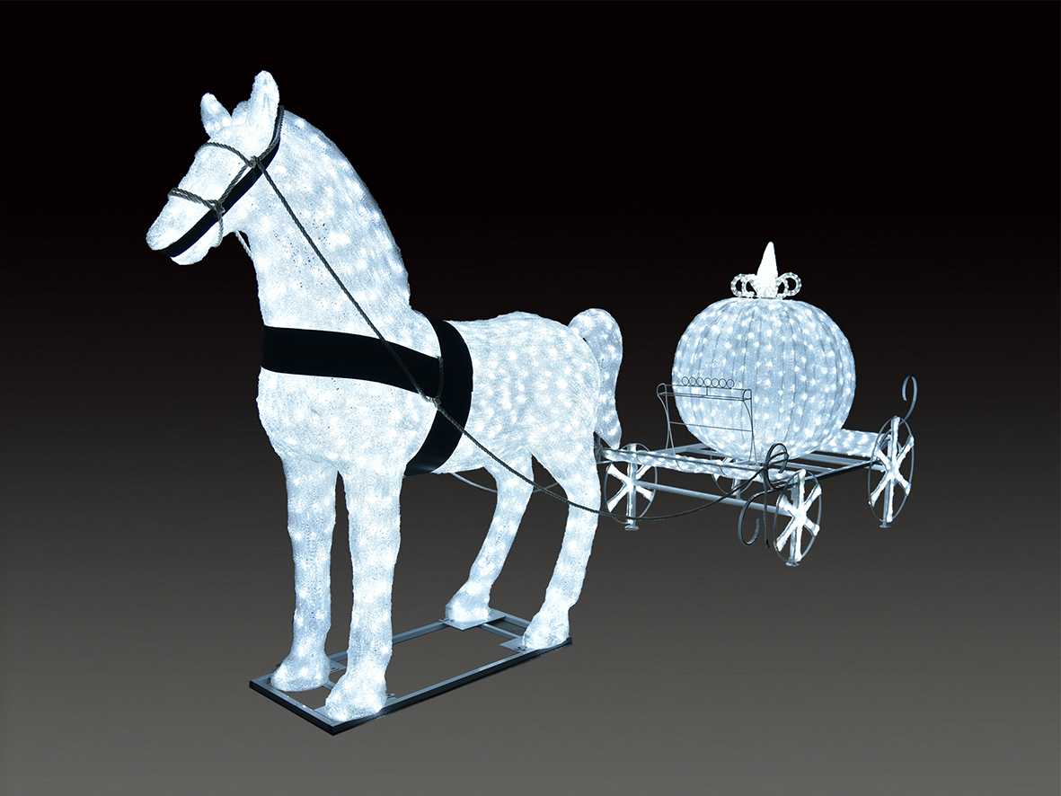 ★クリスマスイルミネーション★スペシャルビッグモチーフ LEDクリスタルグロー 白馬の馬車