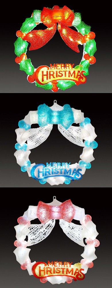 ★クリスマスイルミネーション★LEDクリスタルグロー デコレーションリース レッドグリーン、ホワイトブルー、ホワイトレッドの3色から選んでください!