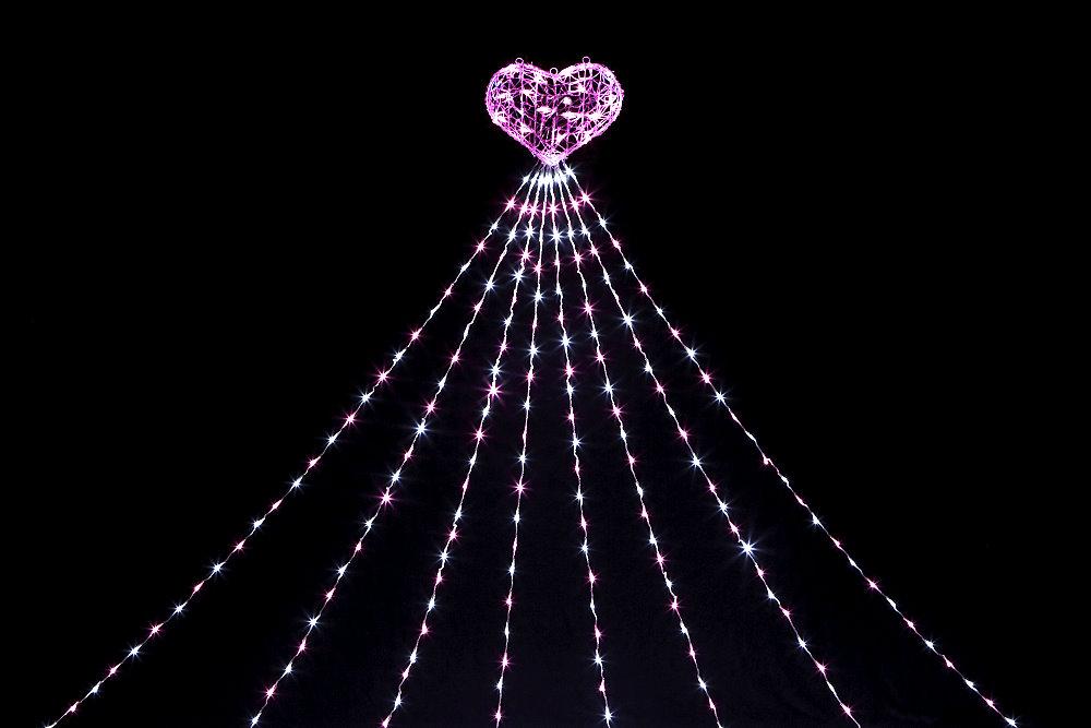 ★クリスマスイルミネーション★LEDナイアガラライト2.5mピンク&ホワイト トップライト:ハート