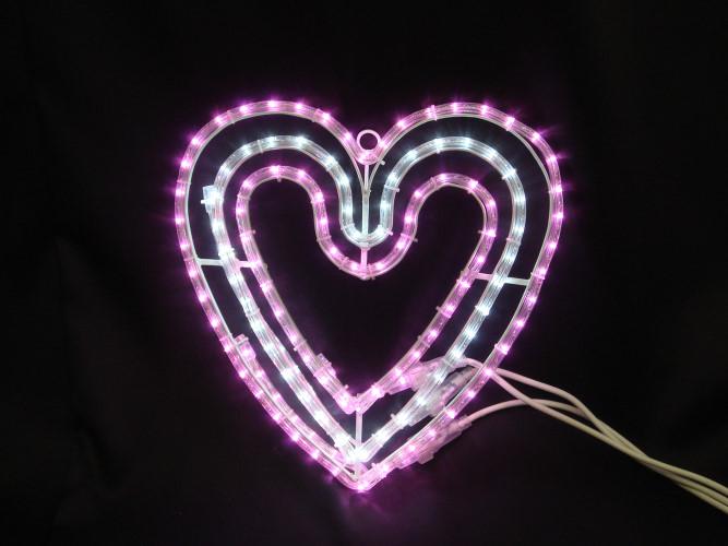 ★イルミネーション★バレンタインシリーズ LEDハート ピンクと白のハートが輝きます!