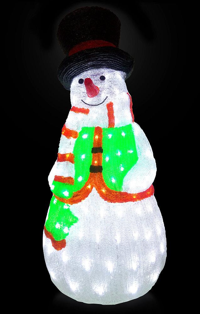 ★クリスマスイルミネーション★LEDクリスタルモチーフ シルクハットスノーマン(グリーン)