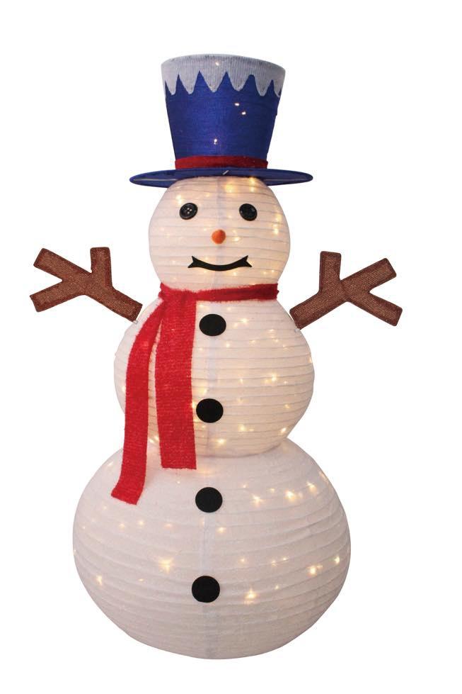 ★クリスマスイルミネーション★折り畳みデコレーションライト フォールディングシルクハットスノーマンDX