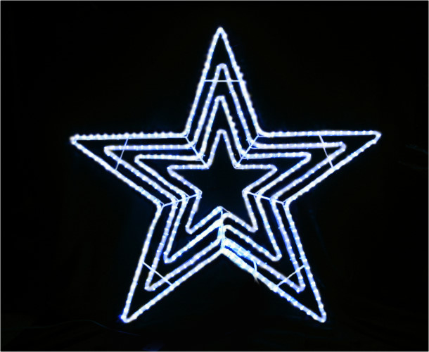 ★クリスマスイルミネーション★LEDビッグスター白色 LED288球! 輝く4重の星!!