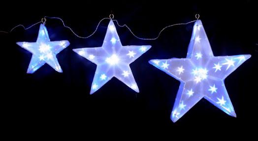 ★クリスマスイルミネーション★LEDスター3連 三つ子のお星さま