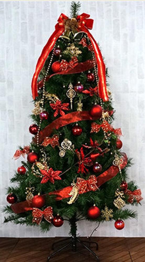 ★クリスマスイルミネーション★180cmカナディアンツリーセット レッド