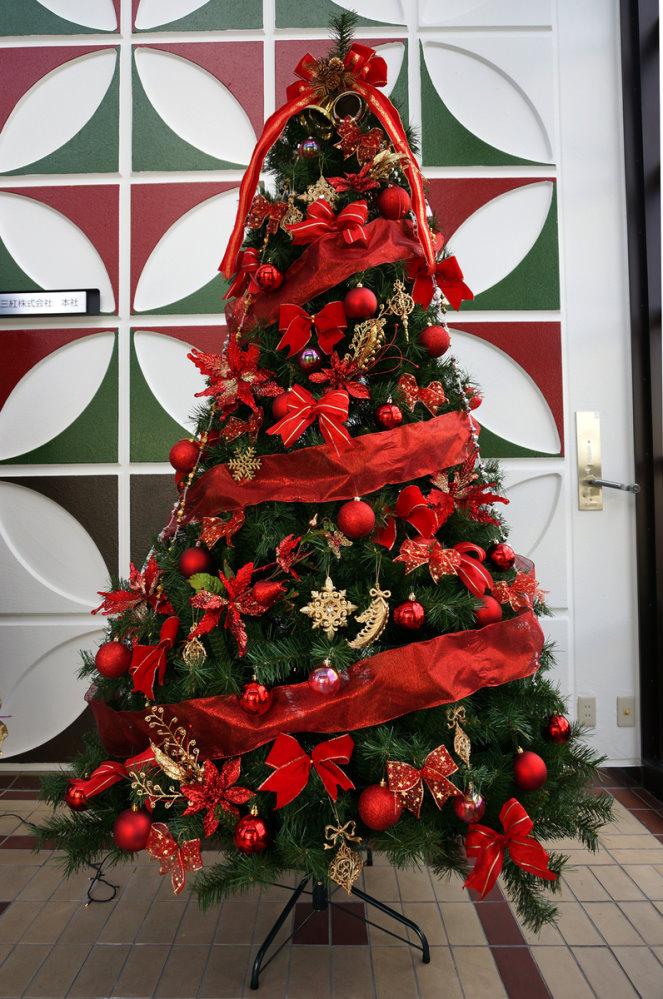 ★クリスマスイルミネーション★240cmカナディアンツリーセット レッド