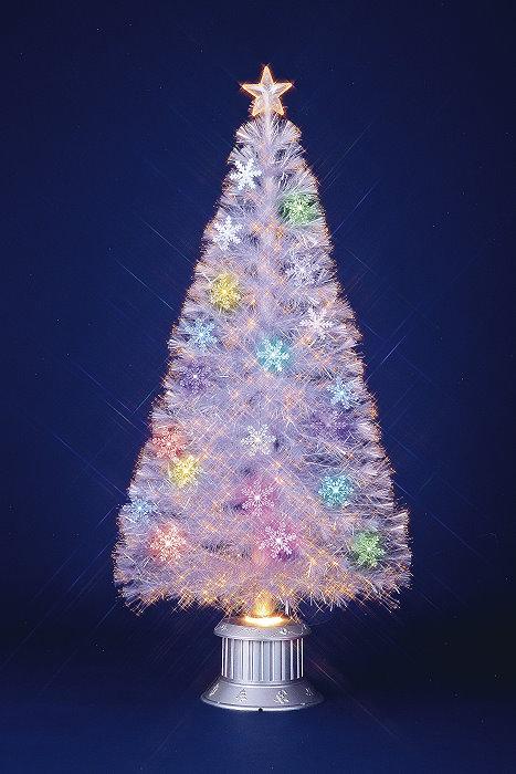 ★クリスマスイルミネーション★レインボーカラーLED 150cmスノーフレイクホワイトファイバーツリー 付属のオーナメントを飾ってね!