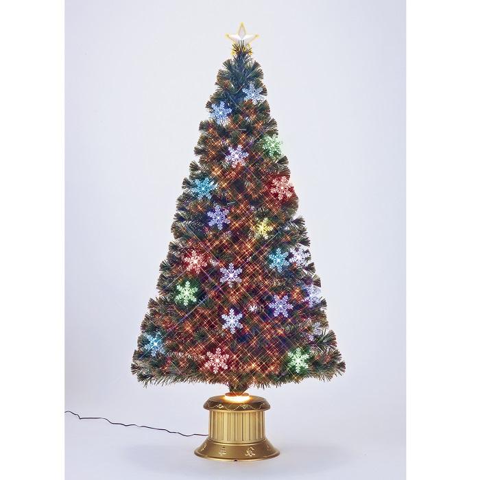★クリスマスイルミネーション★レインボーカラー&ピュアホワイトLED 150cmスノーフレイクファイバーツリー 付属のオーナメントを飾ってね!