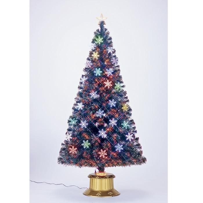 ★クリスマスイルミネーション★レインボーカラー&ピュアホワイトLED 180cmスノーフレイクファイバーツリー 付属のオーナメントを飾ってね!