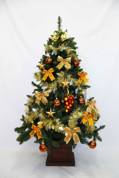 ★クリスマスイルミネーション★180cmウッドベースツリー ゴールドオレンジ