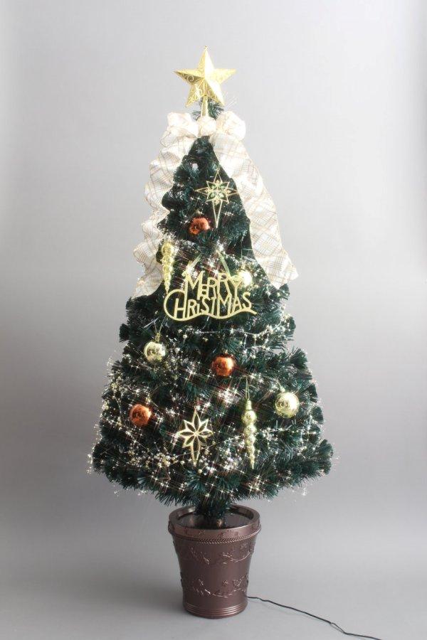 ★クリスマスイルミネーション★210cmグリーンファイバーデコレーションツリー ゴールドとパープルの2色から選んでね!!