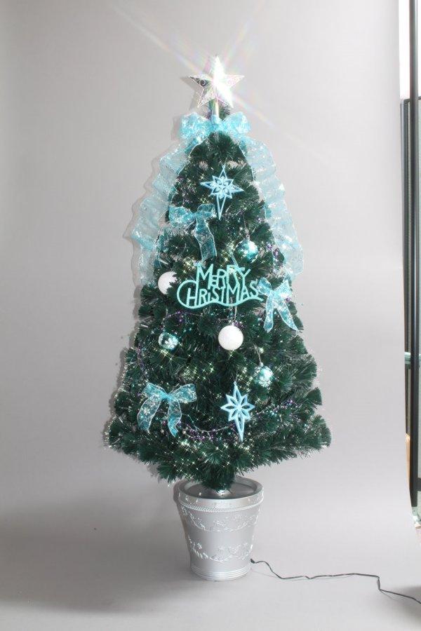★クリスマスイルミネーション★180cmグリーンファイバーデコレーションツリー アクアとレッドの2色から選んでね!!