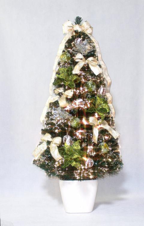 ★クリスマスイルミネーション★デコレーションファイバーツリー DXグリーンFシルバーフラワーツリー150cm 付属のオーナメントを飾ってね!