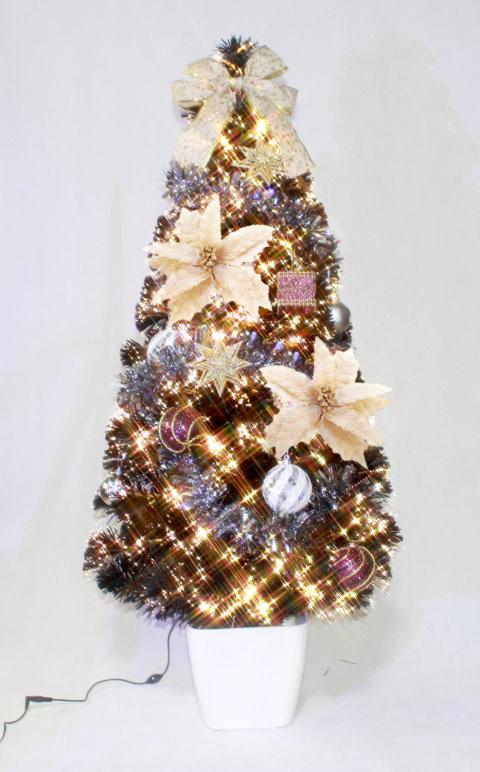 ★クリスマスイルミネーション★デコレーションファイバーツリー DXゴールドポインセチアツリー150cm 付属のオーナメントを飾ってね!