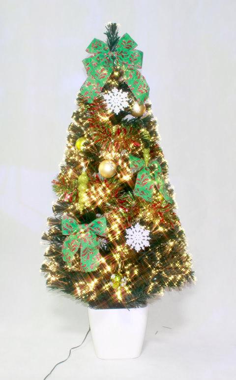 ★クリスマスイルミネーション★デコレーションファイバーツリー DXグリーンFスノーフレークツリー150cm 付属のオーナメントを飾ってね!