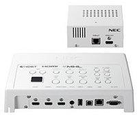 インターフェースセレクター NEC NP01SW4 LANケーブル1本でプロジェクターやディスプレイに映像&音声を伝送可能。 複数の機器のケーブル接続をシンプルに行えます。