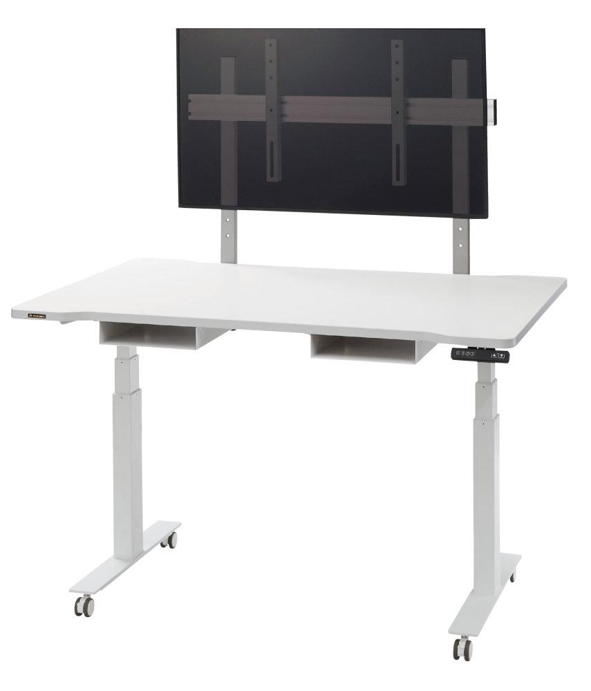 昇降も移動も自由自在! 機能満載な電動昇降テーブル 共栄商事(AURORA) URD-1400EF1 ディスプレイの取付位置を選べます。