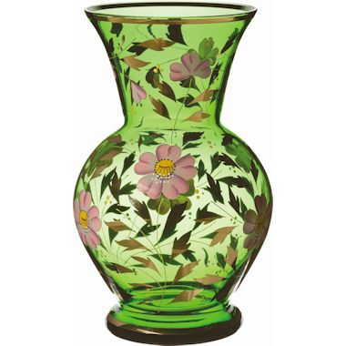 ボヘミアングラス ハンドペイント 花瓶