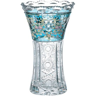 【送料無料】ボヘミアングラス ブルーラスターローズ 花瓶