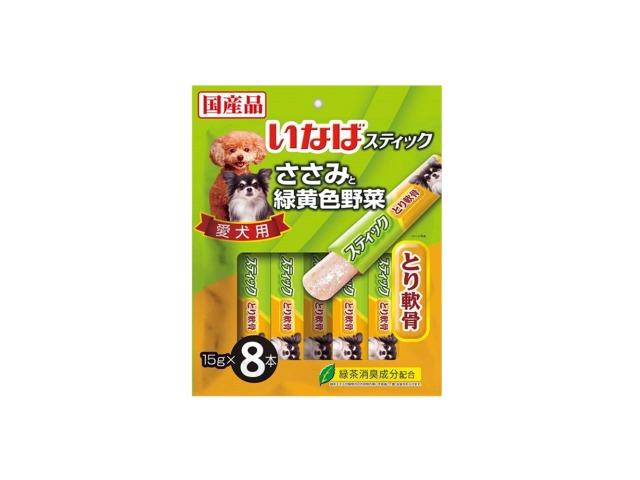 《在庫限り超特価品》いなばスティック ささみと緑黄色野菜スティック とり軟骨 15g×8本 DS-93【犬おやつ】