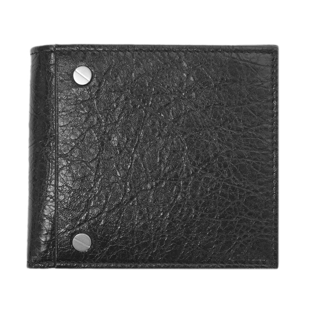 バレンシアガ 財布 542001-1000 BALENCIAGA バレンシアガ メンズ 二つ折り 小銭入れ付き レザー ブラック アウトレット