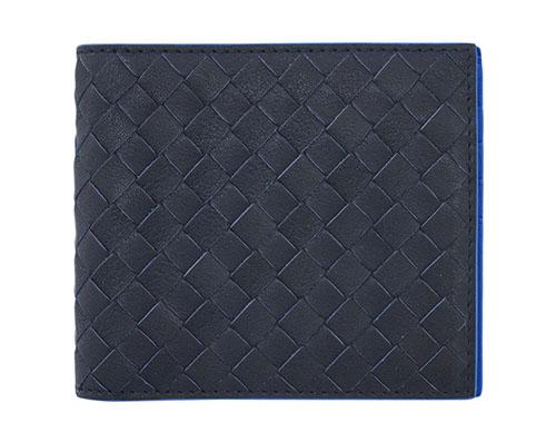 ボッテガヴェネタ 財布 113993-4276 BOTTEGA VENETA ボッテガ メンズ 二つ折り 札入れ イントレッチャート ニューダークネイビー/ブルエッテ アウトレット