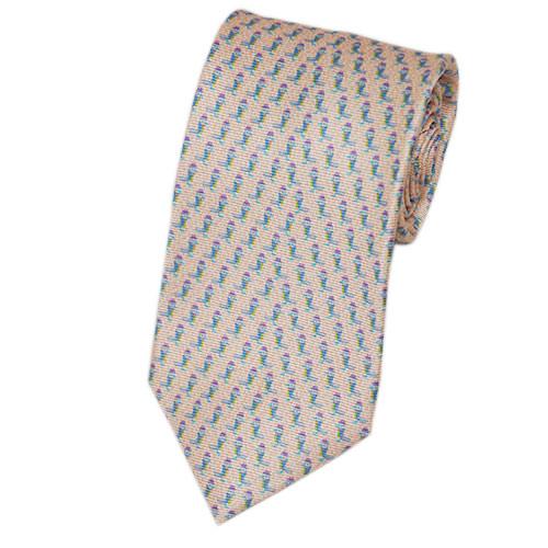 ブルガリ ネクタイ 18346 BVLGARI メンズ アニマルプリント トリ オレンジベージュ/ライトブルー 紙袋付き