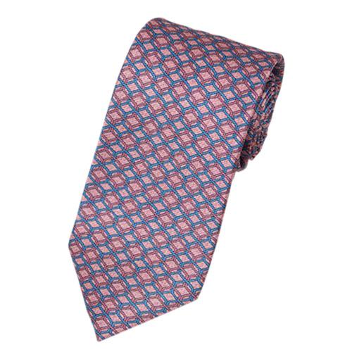 ブルガリ ネクタイ 18774 BVLGARI メンズ プリント デザイン オールドローズ/ピンク/ブルー 紙袋付き