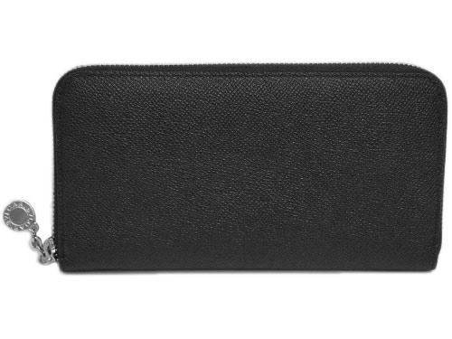 ブルガリ 財布 20886 ラウンドファスナー長財布 ブルガリボタン グレインレザー ブラック シルバー金具