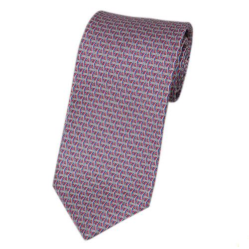 ブルガリ ネクタイ 240001 メンズ プリント デザイン レッド/ブルー 紙袋付き