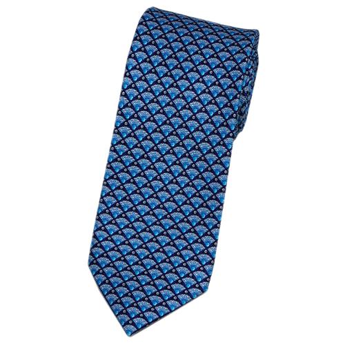 ブルガリ ネクタイ 240446 メンズ プリント デザイン パープル/ターコイズ/グレー 紙袋付き