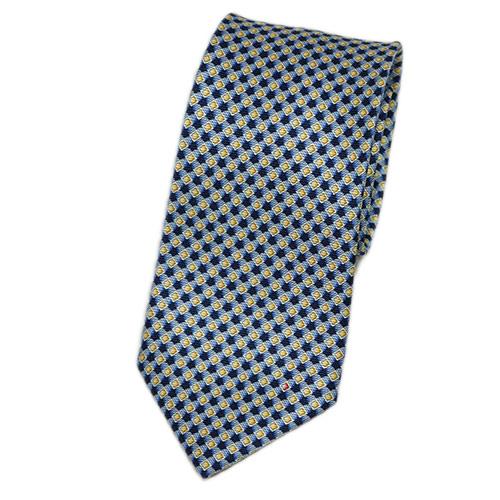 ブルガリ ネクタイ 240483 メンズ プリント デザイン インクブルー/イエロー 紙袋付き
