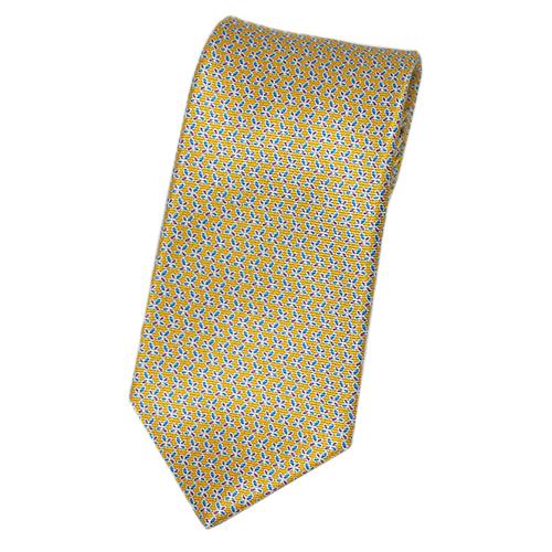 ブルガリ ネクタイ 240491 メンズ プリント デザイン イエローオーカー/ブルー/プラム 紙袋付き