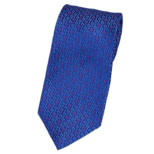 ブルガリ ネクタイ 240541 メンズ ジャガード ハートデザイン ウルトラマリン/ブルー/ピンク 紙袋付き