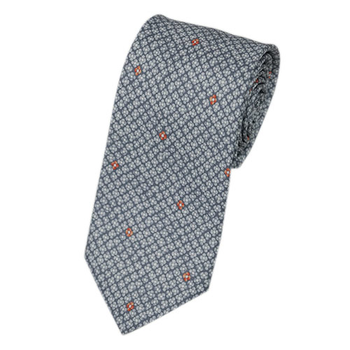 ブルガリ ネクタイ 240925 BVLGARI メンズ プリント デザイン フラワー ライトグレー/オレンジ 紙袋付き