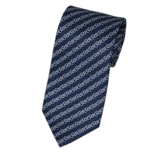 ブルガリ ネクタイ 240992 メンズ プリント デザイン ネイビー/ブルー/グレー 紙袋付き