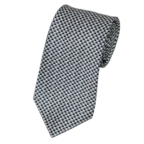 ブルガリ ネクタイ 241010 BVLGARI メンズ プリント デザイン グレー/オフホワイト 紙袋付き