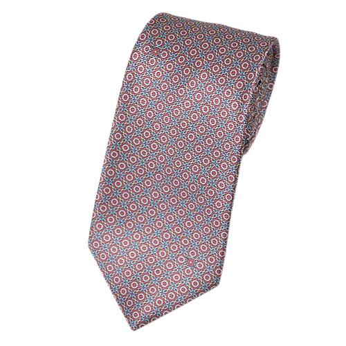 ブルガリ ネクタイ 241152 BVLGARI メンズ プリント デザイン ピンクアーモンド/スカイブルー/イエロー 紙袋付き